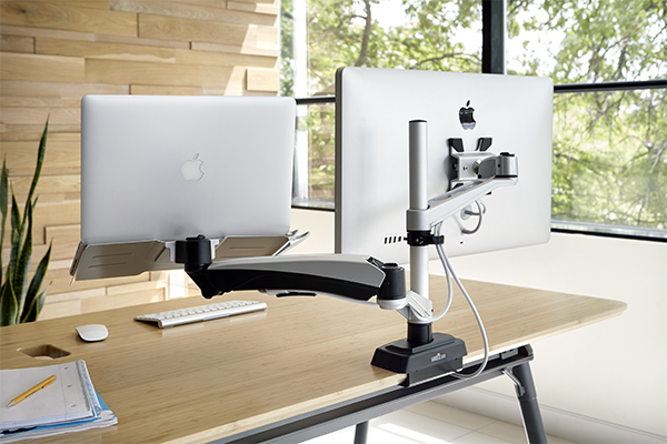 Bras articulé ergonomique dual pour double écran d ordinateur azergo