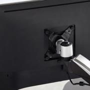 Zoom sur fixation bras d'écran Dual - Positionnement de l'écran d'ordinateur