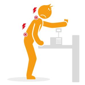Douleurs lombaires et cervicales - Caisse trop haute - Posture debout douloureuse