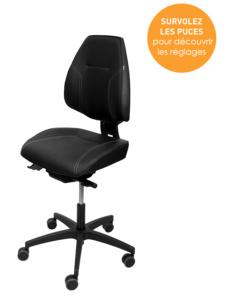 Réglages du siège ergonomique Mojo Task - Ergonomie et posture confortable pour caisse, ateliers, laboratoires